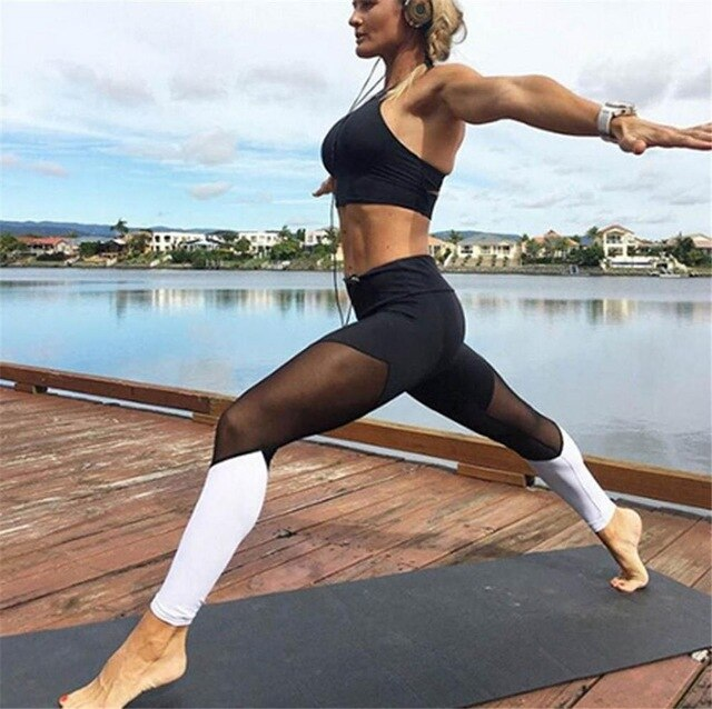 Casual Leggings Women Fitness Leggings Color Block Spring Summer Workout Pants New Arrival Mesh Insert Leggings,RedOphelia.com