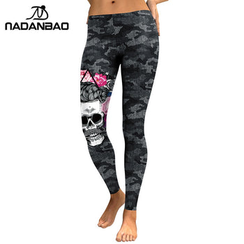 NADANBAO New Arrival Leggings Women Skull Head 3D Printed Camouflage Legging Workout Leggins Slim Elastic Plus Size Pants Legins,RedOphelia.com