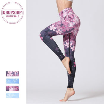 Women Fitness Yoga Pants Slim High waist Sport Leggings Gym Elastic Romantic Printed Long Tights for Running Tummy Control,RedOphelia.com