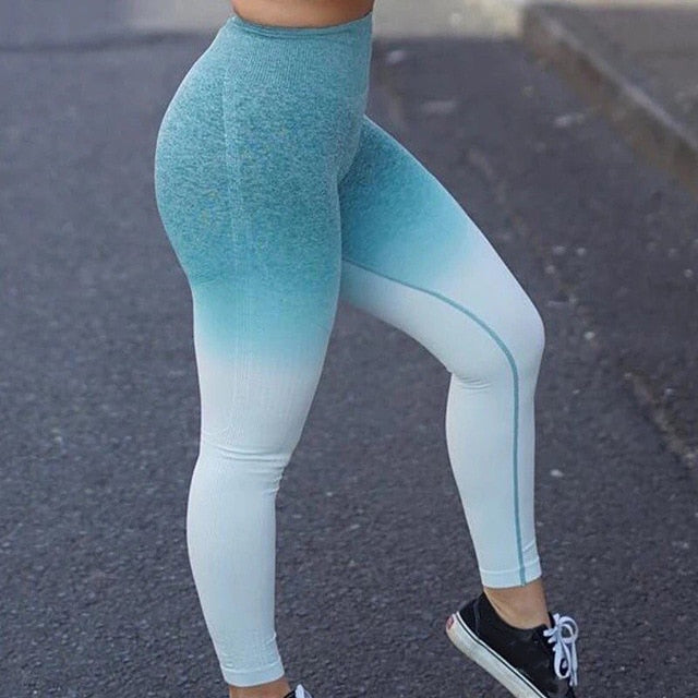 Kaminsky Ombre Seamless Leggings Push Up Fashion Pants High Waist Workout Jogging For Women Athleisure Training Leggings,RedOphelia.com