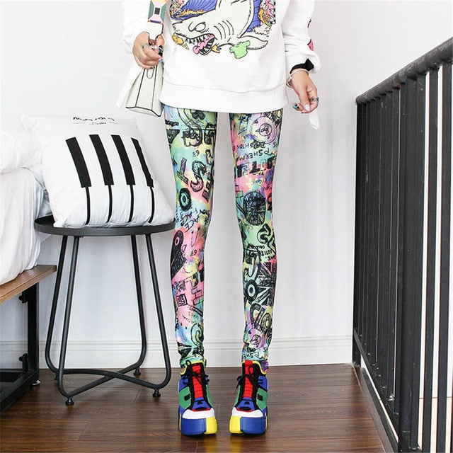Fashion Leggings Sexy Casual Highly Elastic and Colorful Leg Warmer Fit Print Sporting Workout Athletic Leggins Pants Trousers,RedOphelia.com