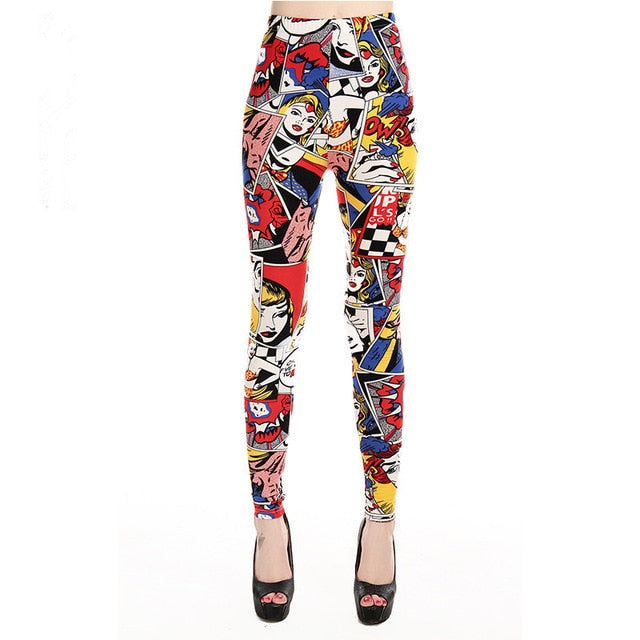 INITIALDREAM Brand 2019 Women Leggings New High Waist Cartoon comic beauty Print Trousers Soft Female Casual Sexy Elastic Pant,RedOphelia Leggings