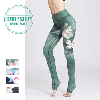 2019 Gym Women Fitness Yoga Pants Slim High waist Sport Leggings Elastic Romantic Printed Long Tights for Running Tummy Control,RedOphelia Leggings