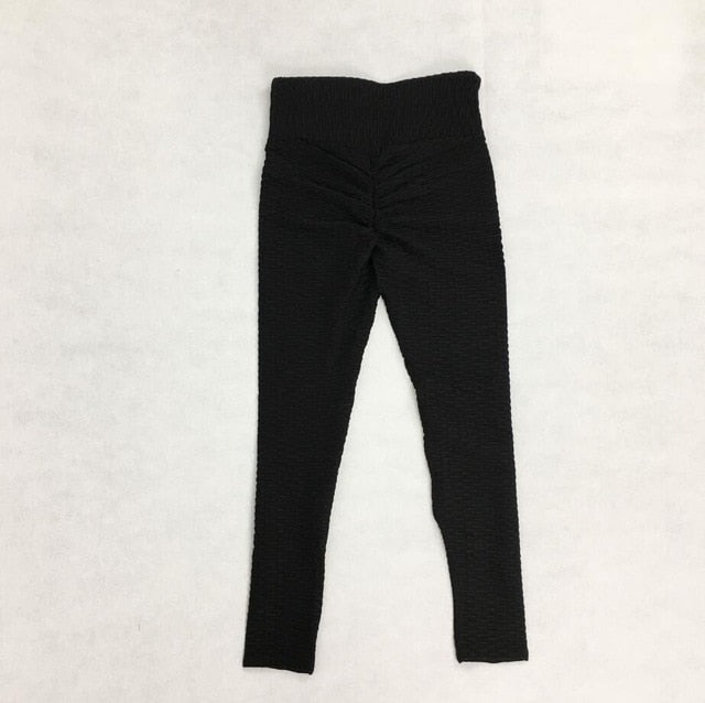 New Fitness Anti Cellulite Texture Leggings Women Pants Solid High Waist Workout Wrinkle Leggings Pants,RedOphelia.com