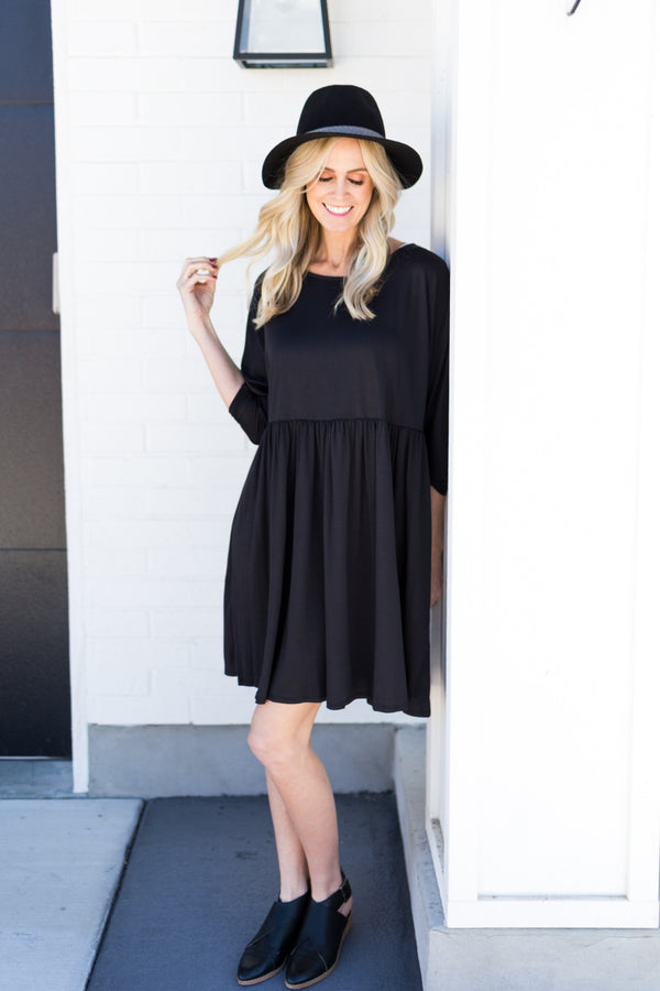 Sweet and Simple Black Dress - Sparrow Noir