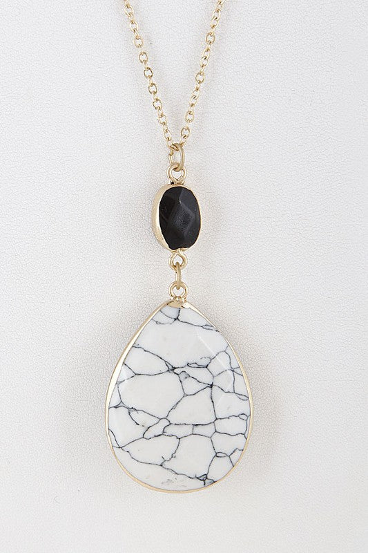 Long 2 Stone Necklace - Sparrow Noir