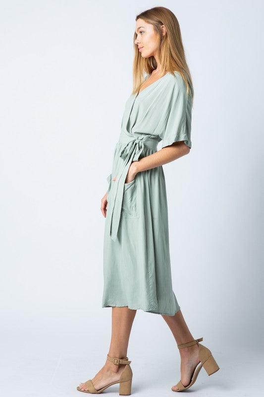 Siena Sage Wrap Dress - Sparrow Noir