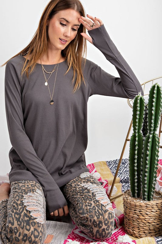 Carefree Rib Knit Tunic - Sparrow Noir
