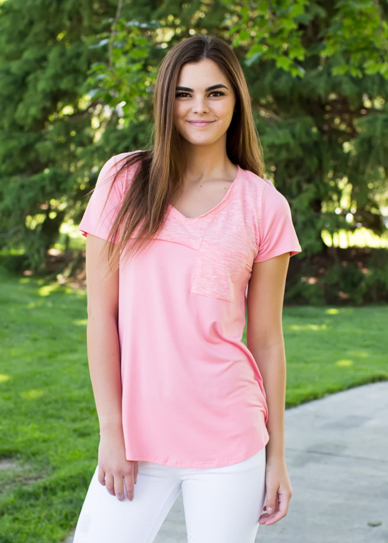 Perfectly Pink Pocket Tee - Sparrow Noir