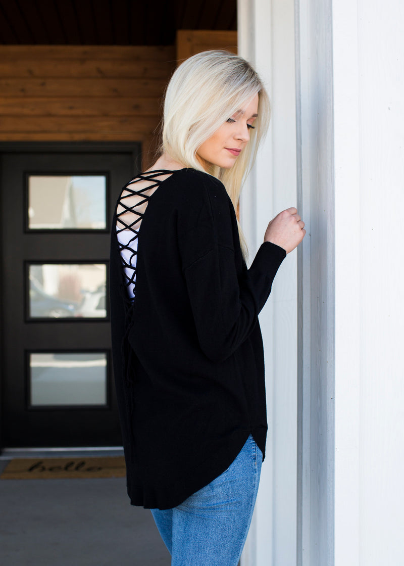 Cross My Heart Sweater - Sparrow Noir