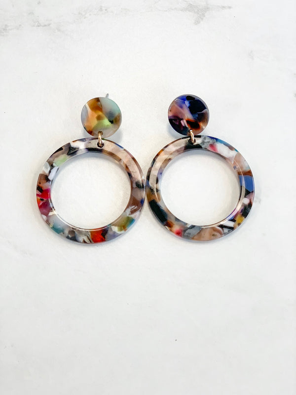 Resin Circle Drop Earrings - Sparrow Noir