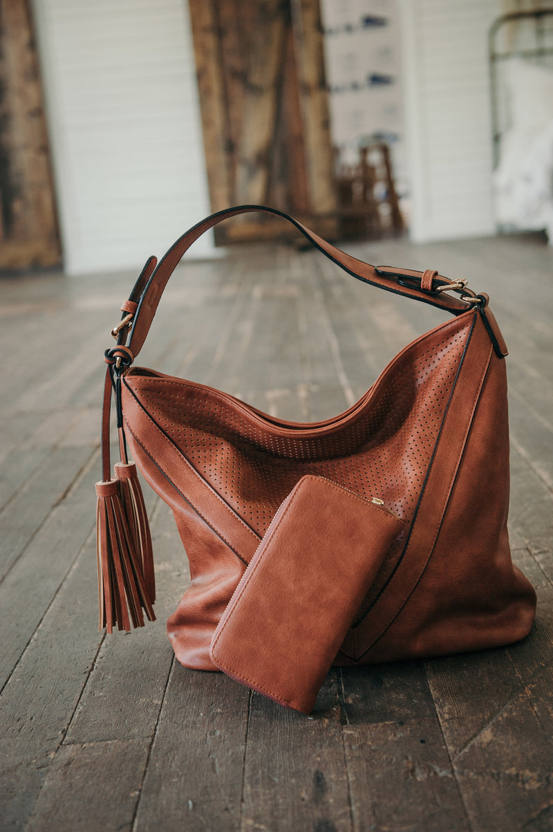 Zip Top Hobo Handbag - Sparrow Noir