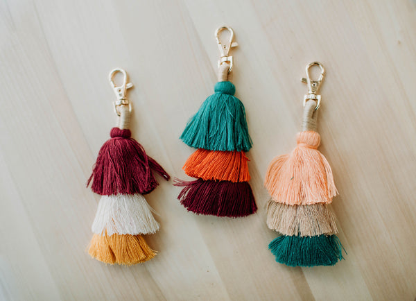 Three Tier Tassel Keychain - Sparrow Noir