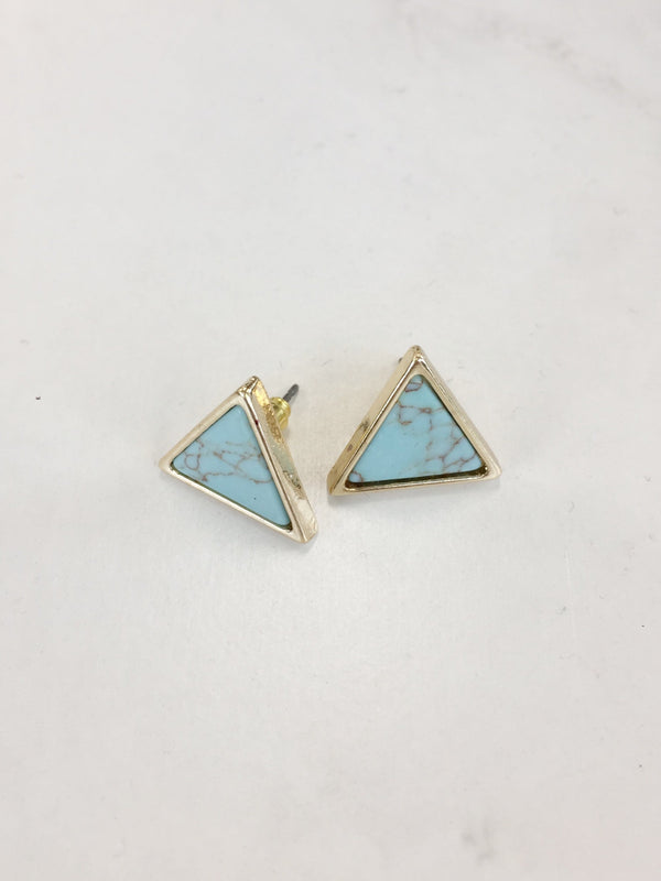 Turquoise Triangle Studs - Sparrow Noir