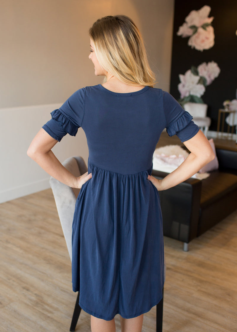 Audrey Ruffle Sleeve Dress - Navy - Sparrow Noir