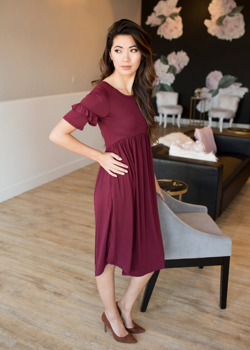 Audrey Ruffle Sleeve Dress - Sparrow Noir