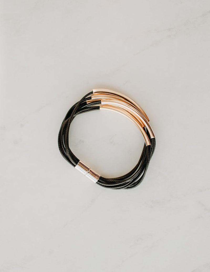 Layered Leather Bracelet - Sparrow Noir