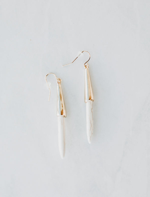 Natural Stone Drop Earrings - Sparrow Noir