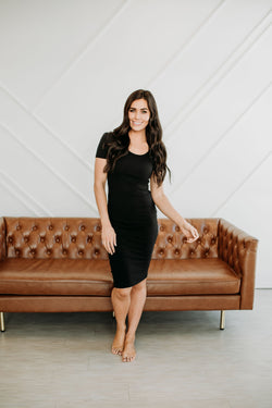 Basic Bodycon Dress in Black - Sparrow Noir