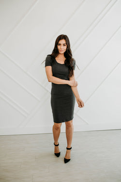 Basic Bodycon Dress in Gray - Sparrow Noir