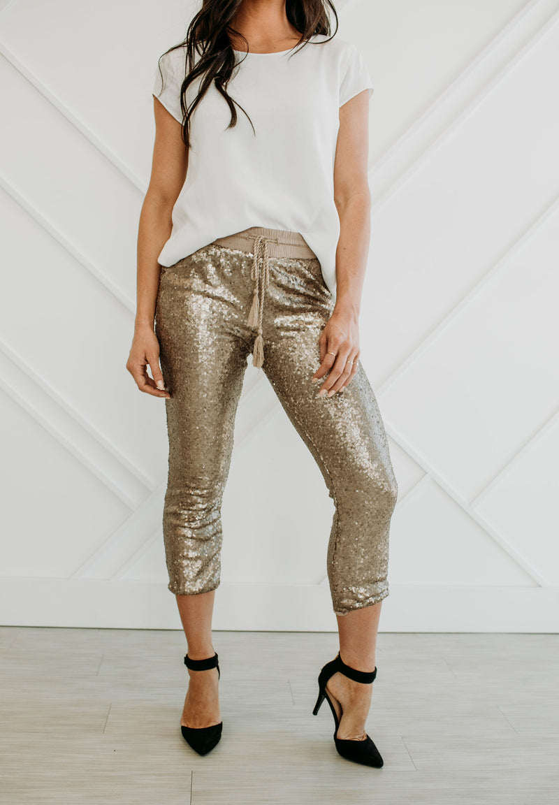 Champagne Sequined Joggers - Sparrow Noir