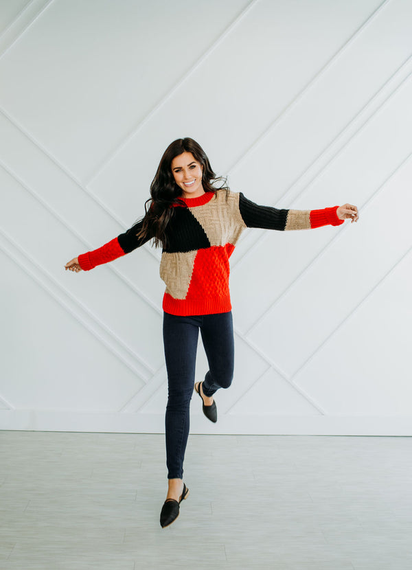 Red Block Sweater