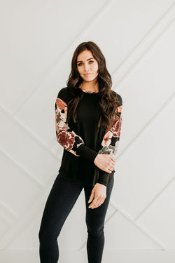 Corrine Foral Top - Sparrow Noir