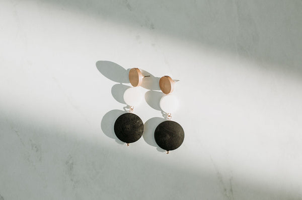 Wooden Circle Earrings - Sparrow Noir