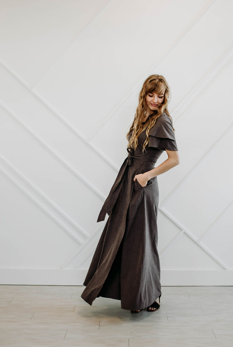 Charcoal Wrap Dress - Sparrow Noir