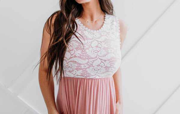 Lace Top Maxi - Pink - Sparrow Noir