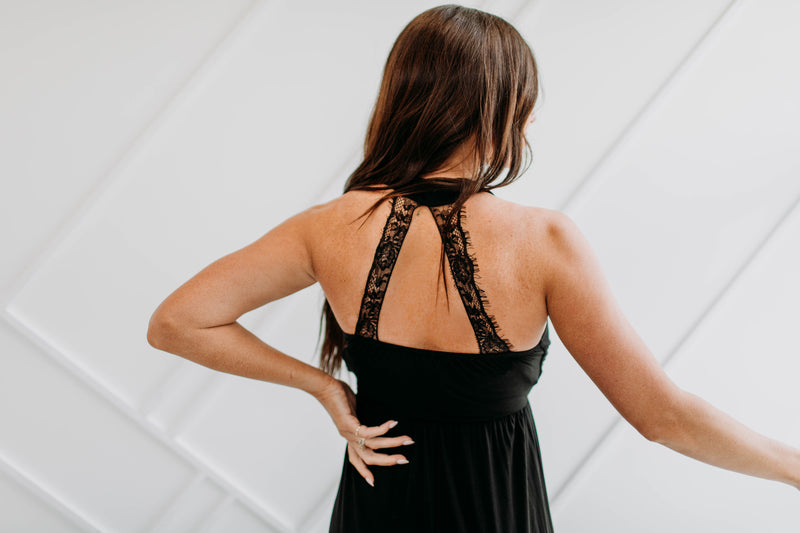 Lace Back Maxi Dress - Sparrow Noir