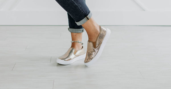 Rose Gold Slip Ons - Sparrow Noir