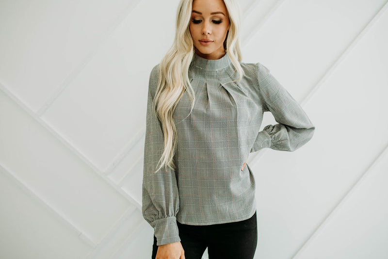 Plaid Pintuck Puff Sleeve Top - Sparrow Noir