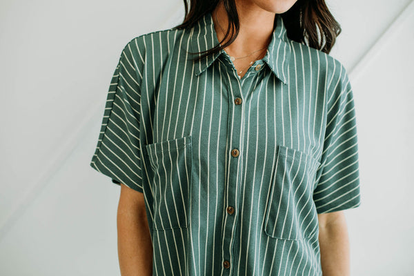 Jillian Striped Button Up - Sparrow Noir