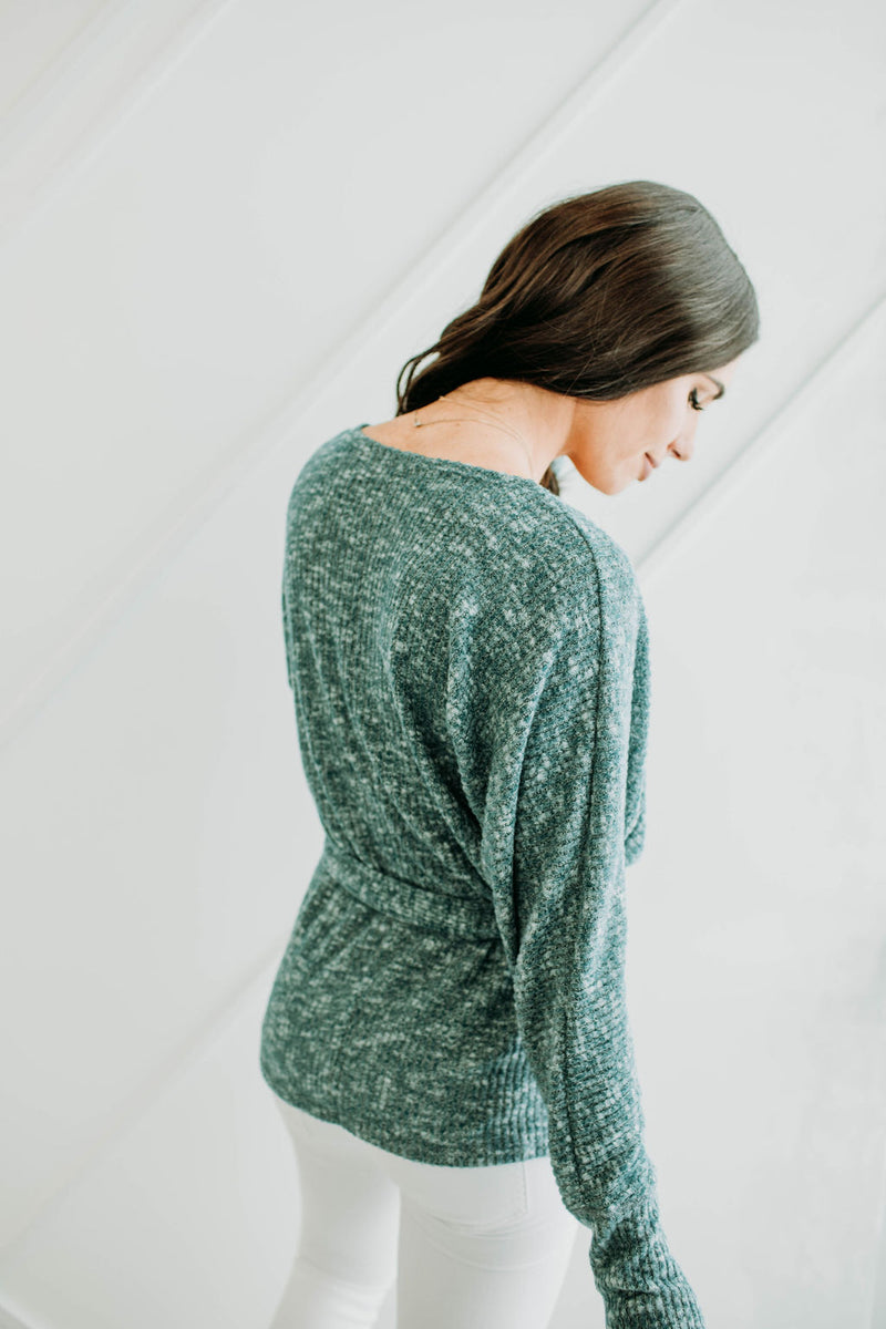 Teal Wrap Sweater - Sparrow Noir