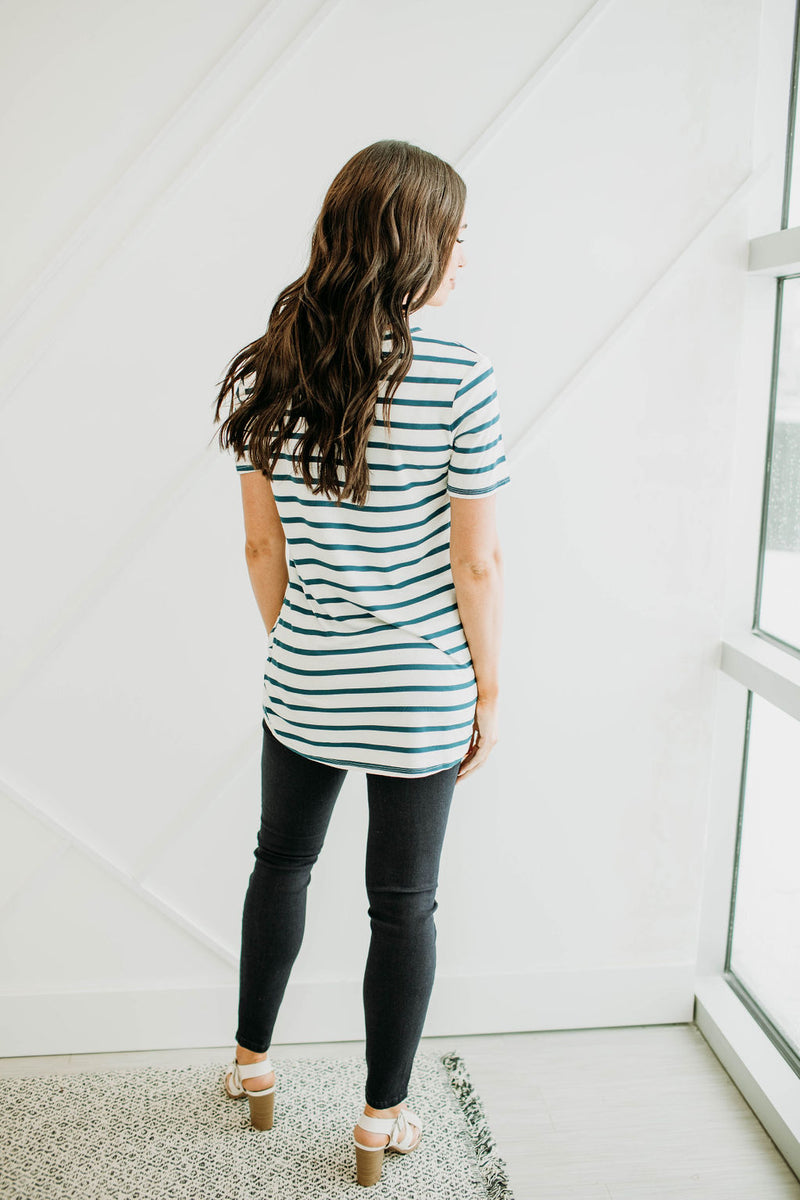 Teal Stripe Basic Tee - Sparrow Noir