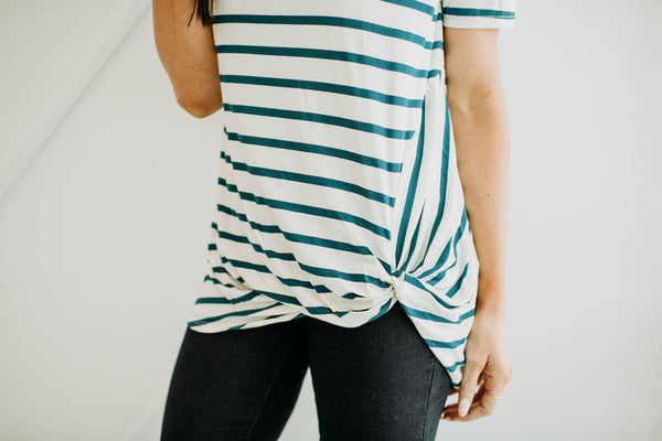 1 - Teal Stripe Basic Tee - Sparrow Noir