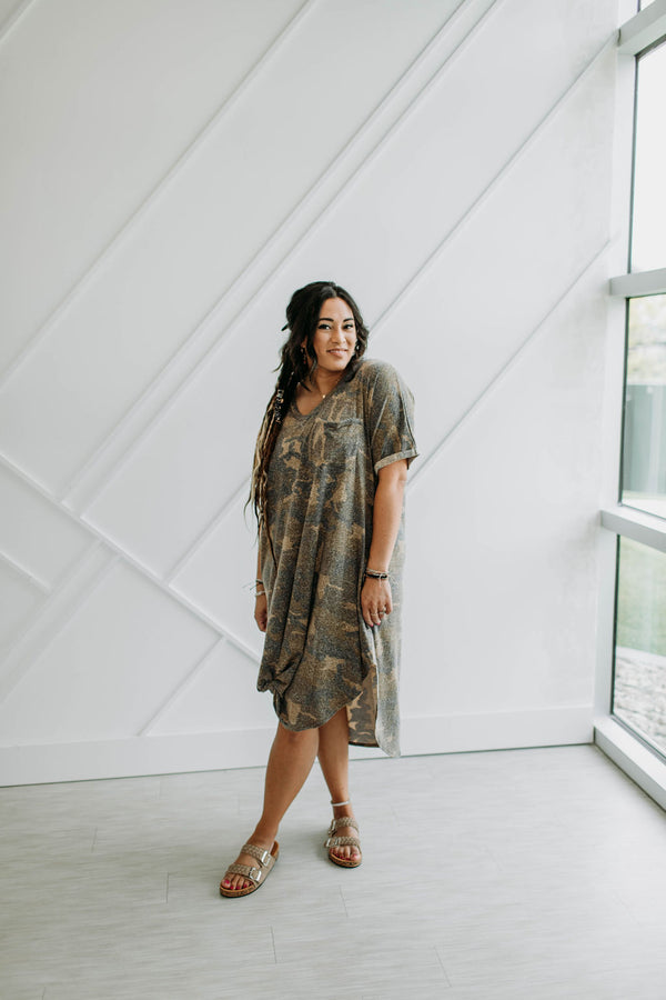 Sweet Caroline Camo Dress - Sparrow Noir