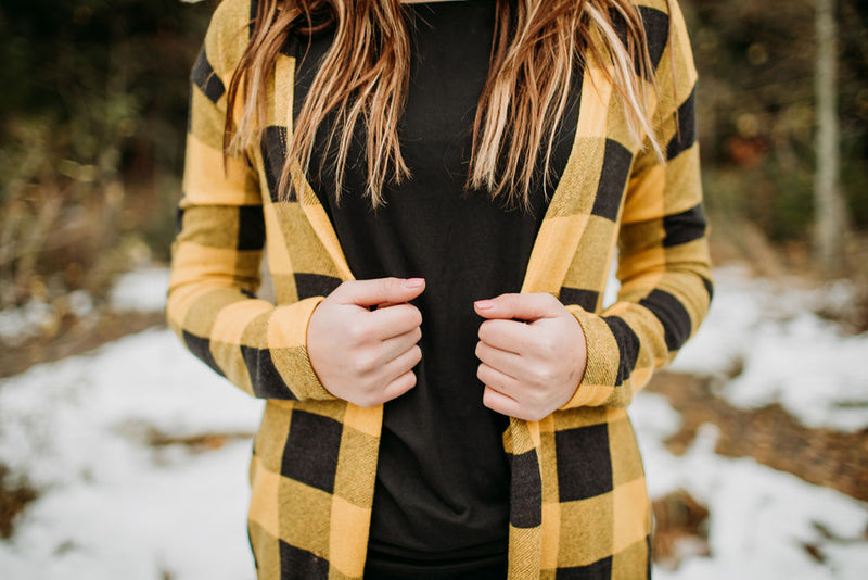 Buffalo Plaid Cardigan - Sparrow Noir