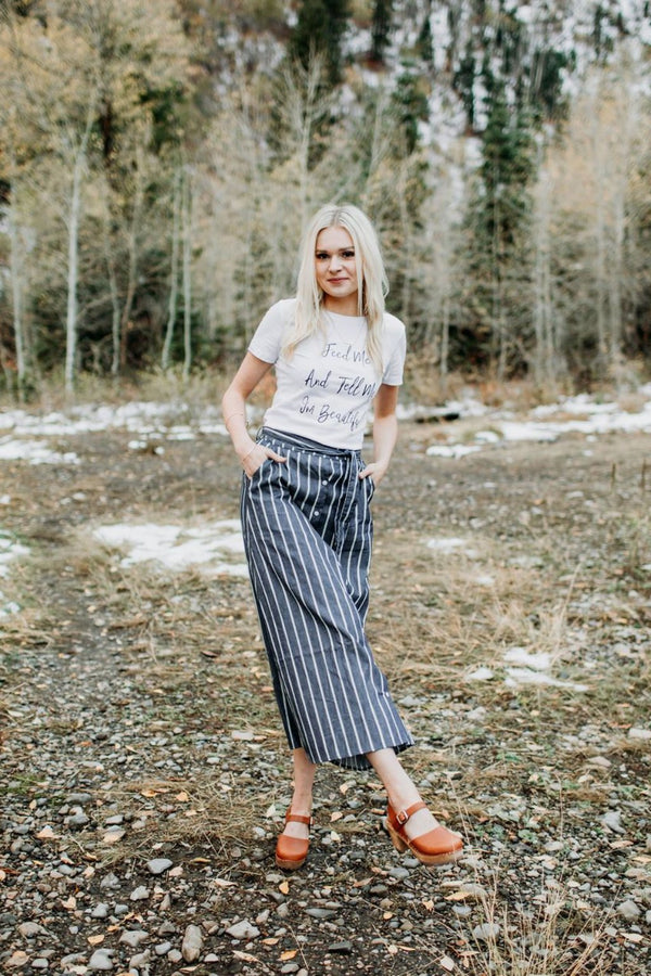 Cambri Denim Striped Skirt - Sparrow Noir