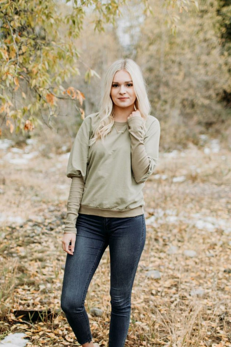 Olive Puff Sleeve Pullover - Sparrow Noir