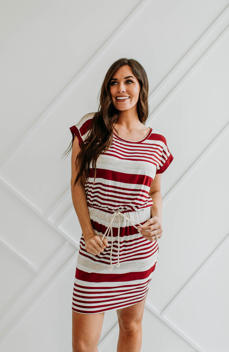 Tatum Striped Dress-Burgundy - Sparrow Noir