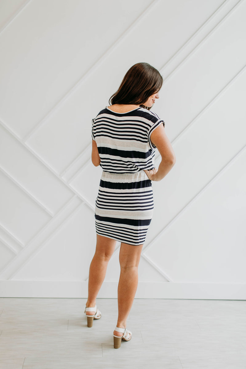 Tatum Striped Dress-Navy - Sparrow Noir