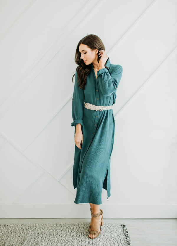Teal Shirt Dress - Sparrow Noir