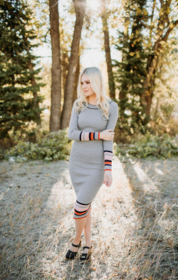 Striped Bodycon Dress - Sparrow Noir