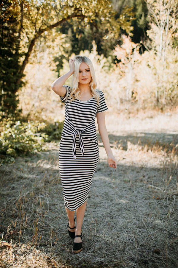 Landry Striped Tie Front Dress - Sparrow Noir