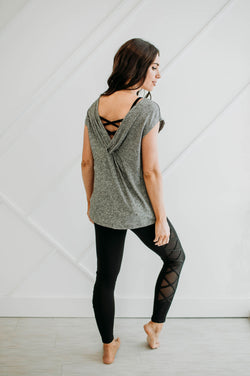 Gray Twistback Top - Sparrow Noir