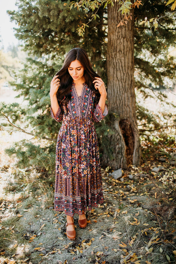 Boho Floral Dress - Sparrow Noir