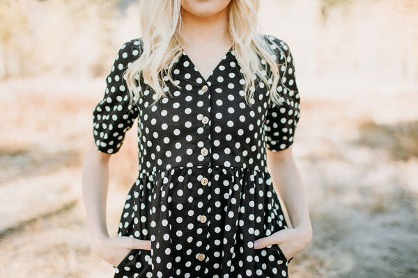 Hidden Alley Dot Dress - L - Sparrow Noir