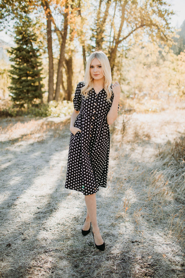 Hidden Alley Dot Dress - Sparrow Noir